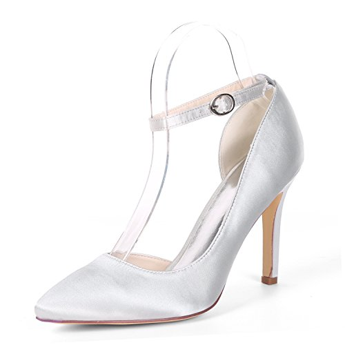 Heels Silver La Las Honor 07b Zapatos 0608 De Plataforma Dama L Satin yc Kitten high Pumps Boda Classic Buckle Mujeres RFH7xaxqwO
