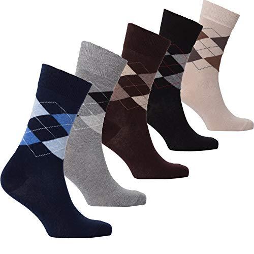 (Socks n Socks - Men's 5-pair Luxury Turkish Classic Stripe Cotton Dress Socks)