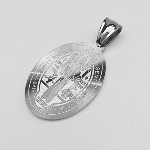 Engraved Stainless Steel Medal - Amythyst Large Oval Shaped Silver Tone Stainless Steel St. Benedict's Medal Pendant (7/8 In x 1-1/8 In)