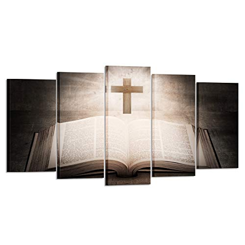 (Kreative Arts Large 5 Panel Christian Jesus Cross Painting Print Poster Wall Art Sunshine Bible Book Vintage Paintings Rustic Home Decor Living Room Decoration Ready to Hang (Large Size)