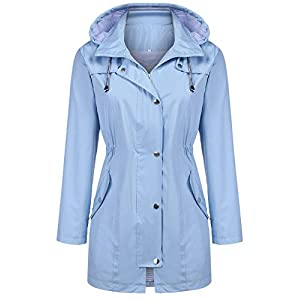 Kikibell Rain Jacket Women Striped Lined Hooded Lightweight Raincoat Outdoor Waterproof Windbreaker 28