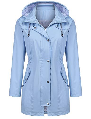 Kikibell Lightweight Jacket with Hood Striped Lined Windbreaker Anorak Jacket Light Blue L