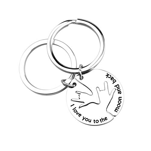 ENSIANTH I Love You to The Moon and Back Keychain Set (Moon and Back Keychain)