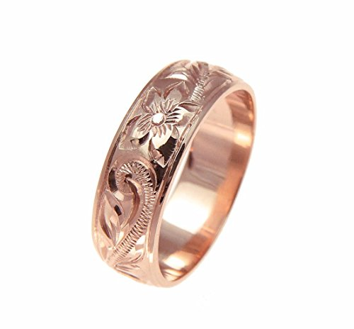 - 14K rose gold hand engraved Hawaiian plumeria scroll band ring smooth edge 6mm size 8