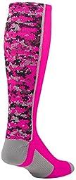 TCK Sports Digital Camo Over The Calf Socks, Hot Pink, Small