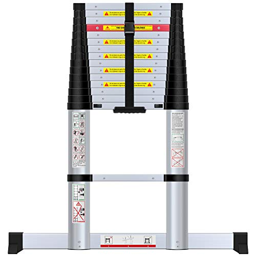 WolfWise 15.5FT Aluminum Telescoping Ladder with Stabilizer, Telescopic Extension Ladder