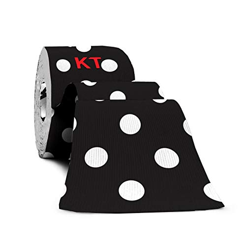 KT Tape Pro Kinesiology Therapeutic Sports Tape, 20 Precut 10 inch Strips, Latex Free, Water Resistance, Pro & Olympic Choice, Black Polka Dots