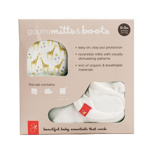 goumikids - Organic Mitts & Booties Bundle, Soft Stay On Scratch Proof Mittens and Adjustable Baby Booties (0-3 Months, Giraffe)