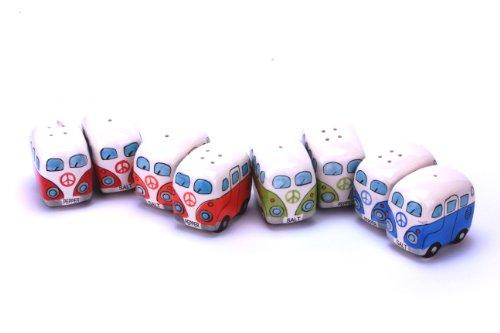 41rR09NprBL 24-7sale Camper Bus Salzstreuer/Pfefferstreuer - aus Keramik, Farbe wählbar, im 2er Set. (Blau)