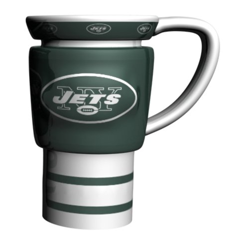 NFL New York Jets Sculpted Travel Mug, 15-Ounce, White
