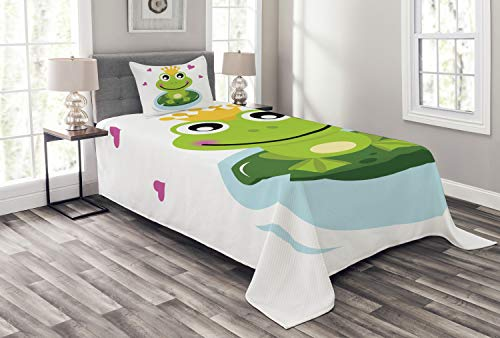 Ambesonne Animal Bedspread Set Twin Size, Cartoon Cheerful Frog Prince with a Crown and Hearts Fairy Tale Character Doodle, 2 Piece Decorative Quilted Coverlet with 1 Pillow Sham, Green Yellow