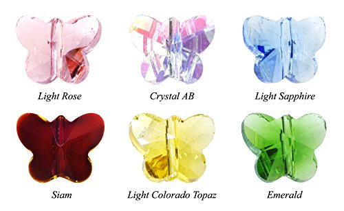 Mandala Crafts Faceted Butterfly Crystal Beads Lot of 30 Pcs, 10mm, 6 Colors (Faceted Crystal Beads compare prices)
