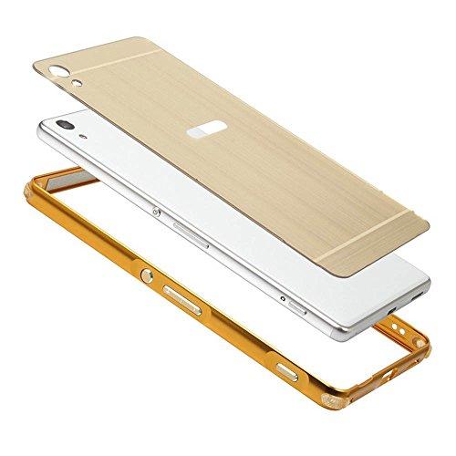 Sony Xperia C6 Ultra Funda - Sunroyal® Mirror Oro Dorado Metal Frame Aluminum Marco + PC Espalda Carcasa Bumper Parachoques Espejo Bumper Case Cover Ultra Delgado Slim High Quality Chic Stylish [Resis Gris