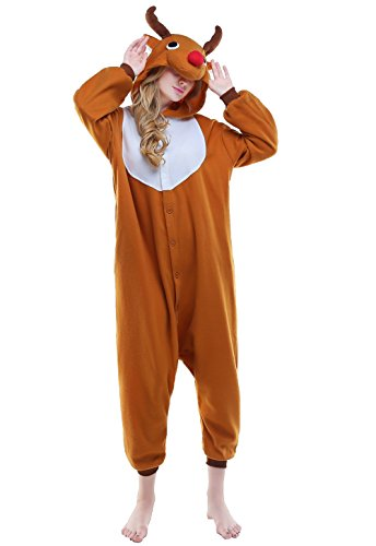 - Newcosplay Unisex Adult Pyjamas Wapiti Halloween Onesie Costume (S, Brown elk)