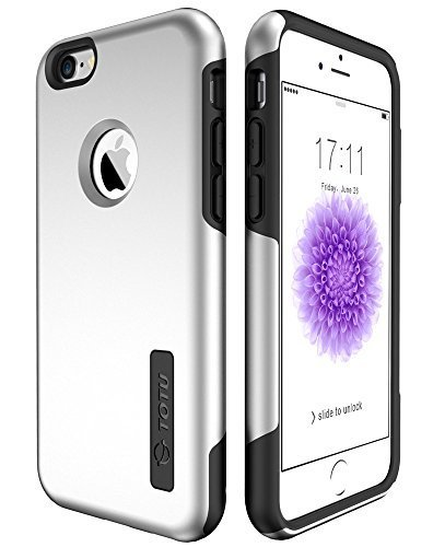 iPhone 6S Case, 6S Case, TOTU Premium Shock-Absorbing TPU Cases Durable Bumper Dual-Layer Cover ,Soft Anti-Scratch Finish Work with iPhone 6 2014 / 6S 2015 - Elite Silver / Black