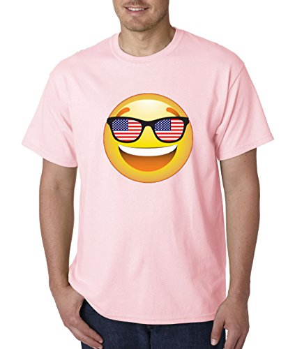 - New Way 474 - Unisex T-Shirt Emoji Smiley Face USA American Flag Sunglasses 4th July 4XL Light Pink