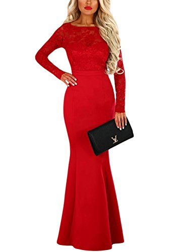 Chase Secret Womens Lace Long Sleeve Bow Back Elegant Evening Gown Fishail Maxi Dress Large Red