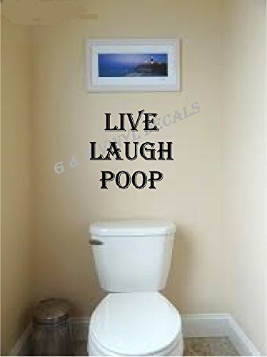 Live Laugh Poop Funny Bathroom Vinyl Wall Decal Wall Decor Letters