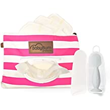 Pink BabyBum Diaper Clutch + Gray Mini Diaper Cream Brush - Travel essentials