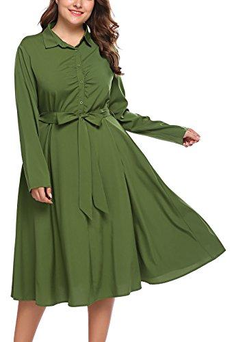 involand Damen Plus Gre Lange rmel Grtel Button-Down Plaid Tunika Shirt Kleid, armee-grn, Army Green, 20 Plus