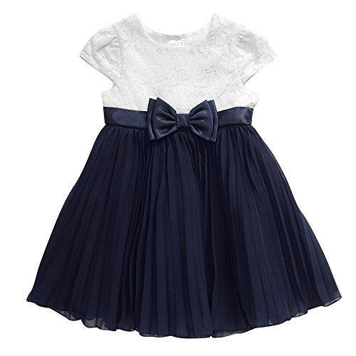 Youngland Little Girls' Short Sleeve Textured Knit To Chiffon Accordion Dress, Navy/White, 2