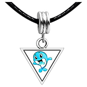 Chicforest Silver Plated Happy Cute Dolphin Photo Triangle Charm Beads Bracelets European Bracelets Compatible