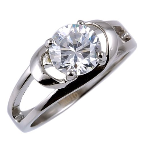 Infinite Love  1 6Ct Ice On Fire Cz Cross Over Promise Friendship Ring 316 Steel  3112A Sz 8 0