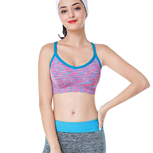Tigivemen Women's Sports Bra - Removable Padded Without Arms Cross-Back Open Back Mint Green ()