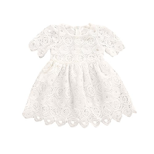 Memela Baby Girls Clothes, Layette Lace Short Sleeve Princess White 0-24 Months Infant Wear Spring/Summer (0-6 Months) (Layette White)