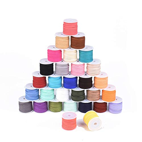 Faux Suede Cord, Lace Flat Faux Leather Bracelet Cord Mixed Color, 3x1.5mm 5 Meter/roll, Pack of 30 Rolls