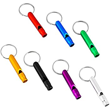 Set of 5 Extra Loud Whistles for Camping Hiking Hunting Outdoors Sports and Emergency Situations, Sturdy but Light Aluminium Key Chain Signals RANDOM Colors