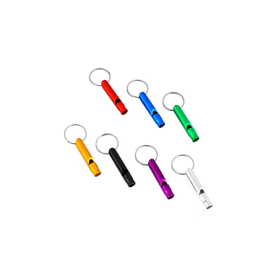 JUSTMIKEO Set of 5 Extra Loud Whistles for Camping Hiking Hunting Outdoors Sports and Emergency Situations, Sturdy but Light Aluminium Key Chain Signals RANDOM Colors