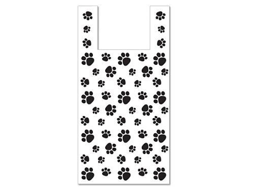 50 Large Bags High Density .5 Mil Paw Print Dog Animal Vendor Retail Gift Shopping T Shirt Bag 11.5x6.5x22