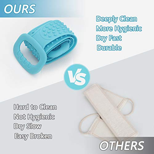 Bath Body Brush, cshare Silicone Back Scrubber for Shower for Men Women Exfoliating, Comfortable Massage Back Washer for Shower, Eco Friendly Hygienic Skin Health Washer (Green)