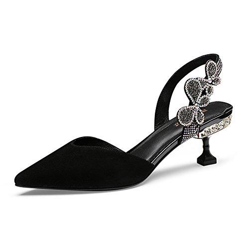 de Tacón Verano para de Sandalias Negro de bajo Tacón Sandalias GYHDDP de Mujer Zapatillas Aguja de Moda nZ6THIq7x