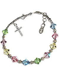 63520ff8f9499 Children s Sterling Silver First Communion Rosary Bracelet with Swarovski  Crystals and CZ Cross (6-