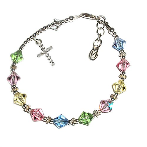 "- Precious Pieces Children's Sterling Silver First Communion Rosary Bracelet with Swarovski Crystals and CZ Cross (6-6.5"")"