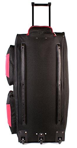 KS-10034pulgadas, color negro y rojo Tamaño Grande con Ruedas Bolsa De Viaje Con Asa