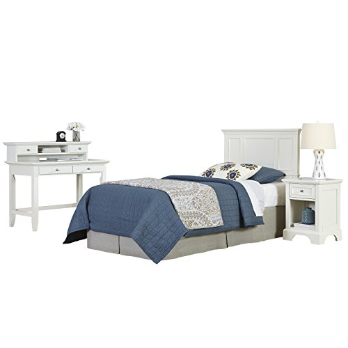 Home Styles 5530-4018 Naples Twin Headboard, Night Stand and Student Desk with Hutch, ()