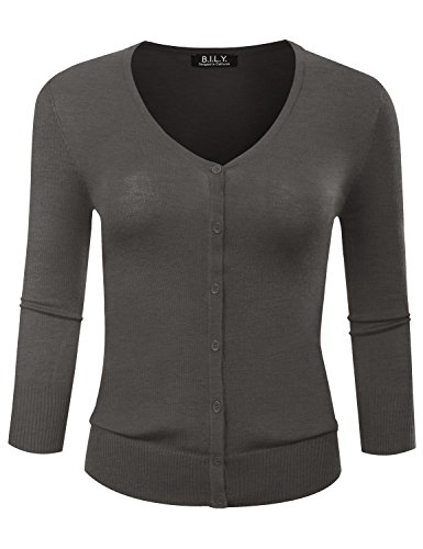 BILY Women's V-Neck Button Down 3/4 Sleeve Soft Classic Knit Cardigan Charcoal Large (V-neck Cardigan Sleeve 3/4)