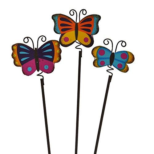Butterfly Stick - Miniature Fairy Garden Colorful Butterfly Picks, Set of 3