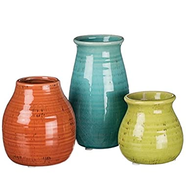 Sullivans 3-5.5  Set of 3 Decorative Crackled Vases in Orange, Green, and Blue