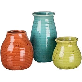 Amazon Imax 25016 3 Agatha Ceramic Vases Set Of 3 Decorative