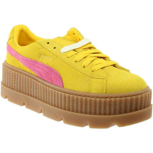 PUMA Women's Cleated Creeper Suede Lemon/Carmine Rose/Vanilla 10 B(M) US (Platform Shoes Yellow)