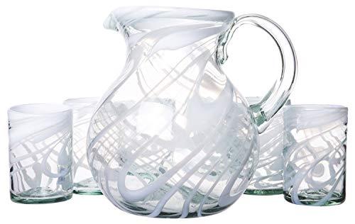 White Swirl Pitcher with Beverage Glasses Set, Artisanal Handmade Decorative Glassware, Eco Friendly Recycled Glass, 160 fl oz - 15 fl oz