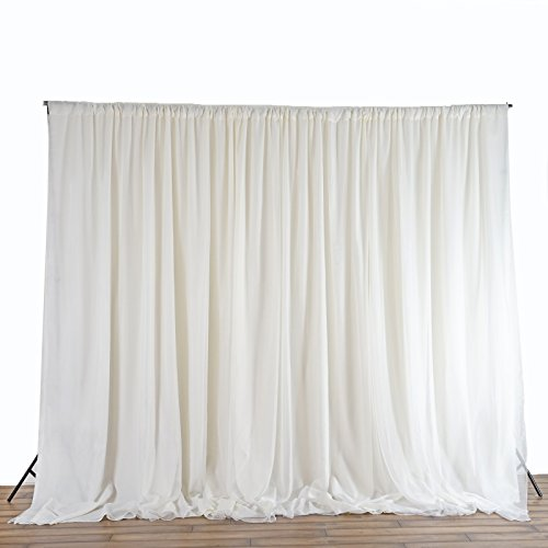 BalsaCircle 20 ft x 10 ft Fabric Backdrop Curtain - Ivory by BalsaCircle