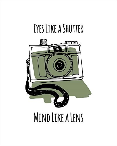 Eyes Like A Shutter Mind Like A Lens Camera Doodle Green by Color Me Happy Laminated Art Print, 18 x 22 inches