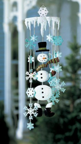 Collections Etc Winter Snowman and Snowflake Holiday Garden Wind Chimes - Outdoor Hanging Decorations ()