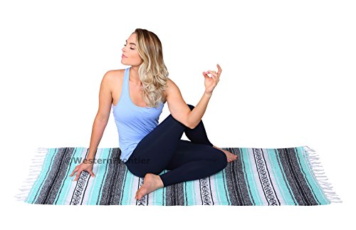 El Paso Designs Genuine Mexican Falsa Blanket - Yoga Studio Blanket, Colorful, Soft Woven Serape Imported from Mexico (Cool Mint & Gray) by El Paso Designs (Image #6)