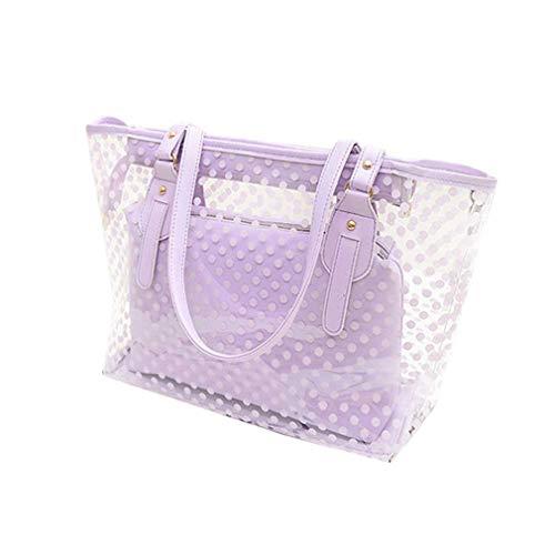 Hombro Purple Bolsos Las del Mujeres Bolsos Jalea la Casuales de PVC claros Bolsos de Purple de 4qpFw5x6S